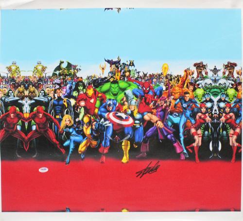 Stan Lee Signed 16x20 Marvel Universe Cast Canvas PSA/DNA #W18554