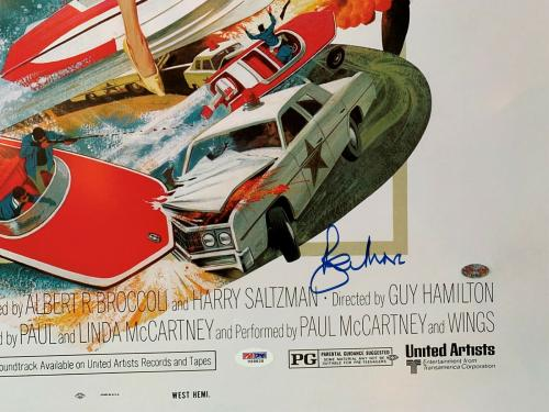 Roger Moore Autographed 007 James Bond 24 x 36 Movie Poster signed PSA /dna coa