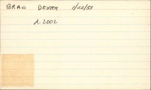 "Brad Dexter D.2002 Actor Signed 3"" x 5"" Index Card"
