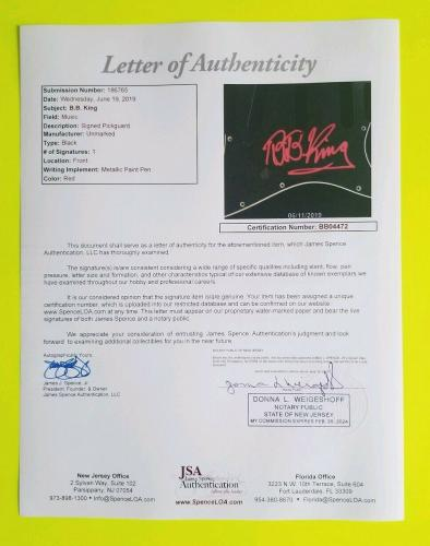 B.b. King Signed Fender Strat Guitar Pickguard Certified Authentic With Jsa Coa