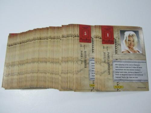 Complete 2011 Panini Americana 100 Card Base Set (Pamela Anderson Justin Beiber)