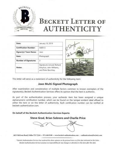Jaws signed 8x10 photo framed 3 auto John Williams Richard Dreyfuss Benchley BAS