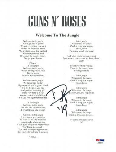 Duff McKagan Signed Guns N' Roses WELCOME TO THE JUNGLE Lyric Sheet PSA/DNA COA