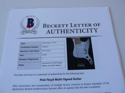 Roger Waters Nick Mason Pink Floyd Signed Autographed Bass Guitar BAS Certified