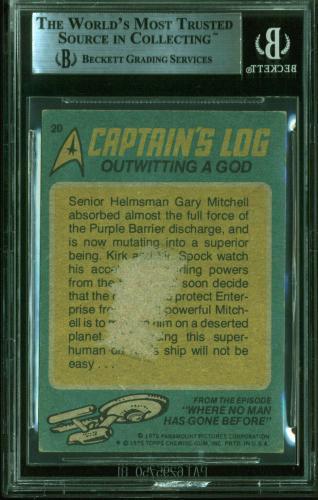 William Shatner Signed 1976 Star Trek #20 Outwitting A God Card BAS Slabbed 1