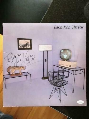 Elton John Hand Signed The Fox Record Album        Rocket Man      Rare      Jsa