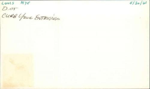 """Louis Nye D.2005 Actor Curb Your Entusiasm Signed 3"""" x 5"""" Index Card"""