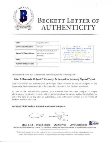 Bobby Jacqueline John F Kennedy Signed Autographed Ticket Beckett BAS