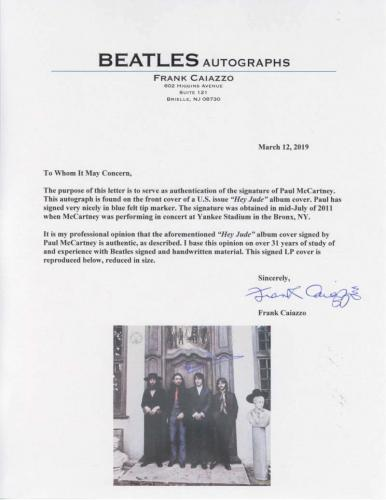 The Beatles Paul McCartney Signed Autographed Hey Jude Album LP Frank Caiazzo