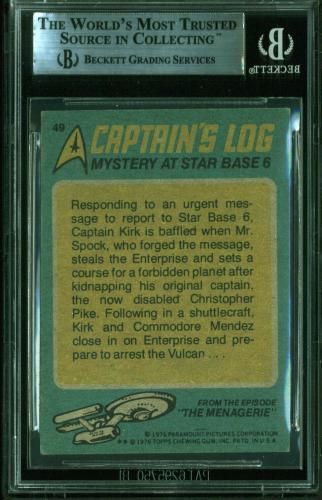 William Shatner Signed 1976 Star Trek #49 Mystery At Star Base Card BAS Slabbed