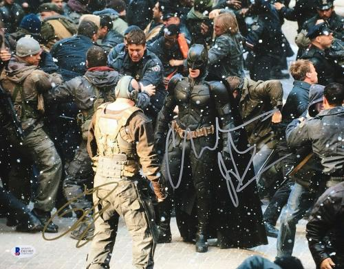 Tom Hardy & Christian Bale Signed 'The Dark Knight Rises' 11x14 Photo BAS D01985