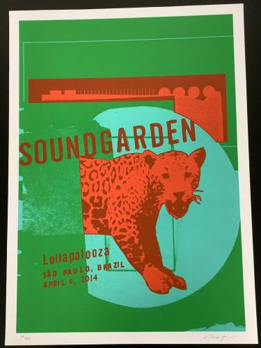 Soundgarden Poster Chris Cornell 2014 Lollapalooza SIgned LE 34/100 Paulo Brazil