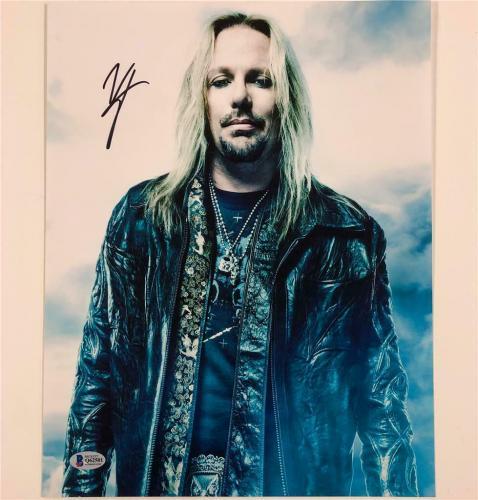 Motley Crue lead singer Vince Neil autograph signed 11x14 photo ~Beckett BAS COA