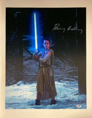 Daisy Ridley Signed Star Wars 16x20 Canvas Photo Blue Saber - Rey PSA DNA COA