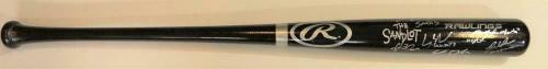 The Sandlot Autographed Black Rawlings Pro Baseball Bat - Beckett Auth *Silver