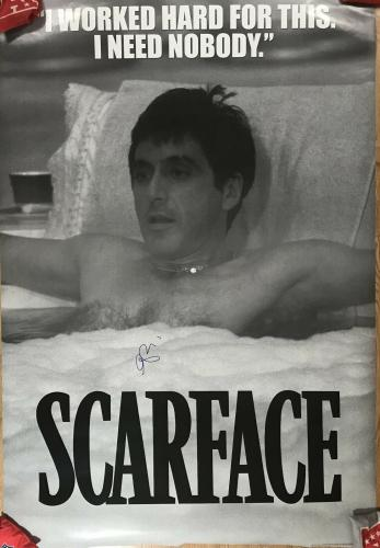 BAD GUY!!! Al Pacino TONY MONTANA Signed 5ft SCARFACE Movie Poster Beckett BAS