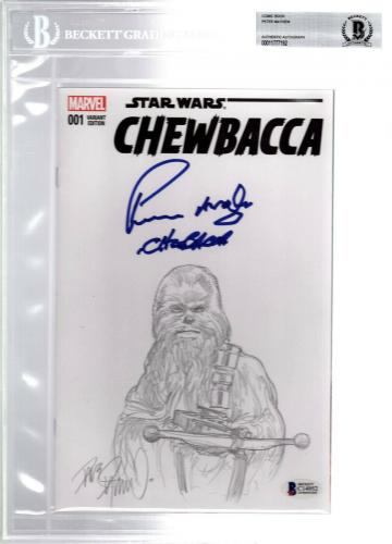 "PETER MAYHEW Signed Star Wars ""CHEWBACCA"" Comic Book w/ Original Sketch BAS Slab"