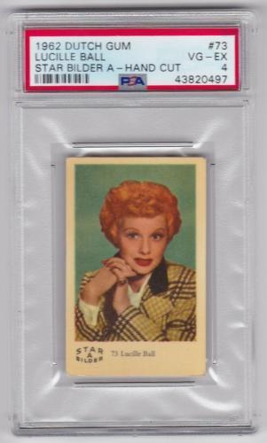 1962 Dutch Gum Lucille Ball Star Bilder A Card #73 Psa 4 Vg/ex Condition