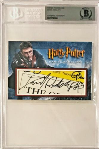Daniel Radcliffe Harry Potter Signed Auto Custom 4x6 CARD 1/1 BAS Beckett
