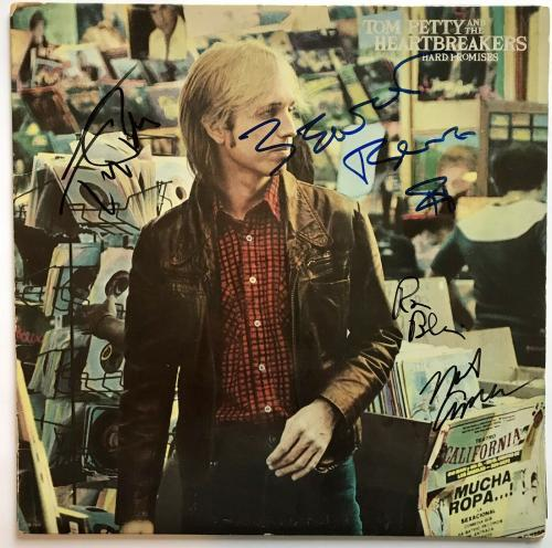 Tom Petty signed album hard promises psa dna the heartbreakers group autographed