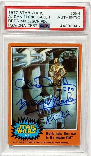 1977 Star Wars ANTHONY DANIELS & KENNY BAKER Signed Card #294 SLABBED PSA/DNA
