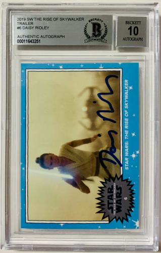 Daisy Ridley Signed Star Wars Rise of Skywalker Topps Card #6 Rey BAS Graded 10