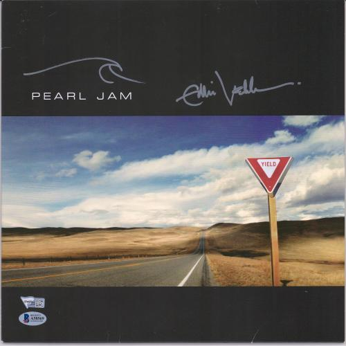 Eddie Vedder Pearl Jam Autographed Yield Album Cover with Hand Drawing - BAS