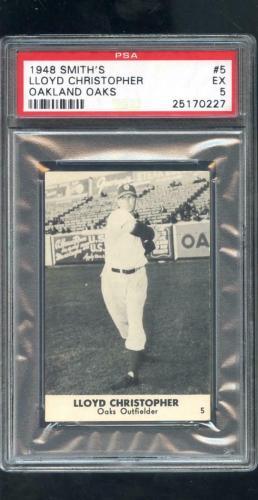 1948 Smith's Smiths Lloyd Christopher PCL Oaks PSA 5 Graded Baseball Card