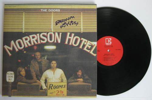 Henry Diltz signed,autographed Morrison Hotel album,The Doors Vinyl, exact Proof