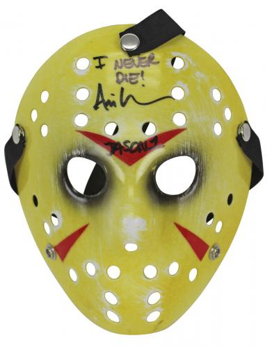 "Ari Lehman Friday The 13th ""I Never Die"" Signed Yellow Jason Mask BAS #B38285"
