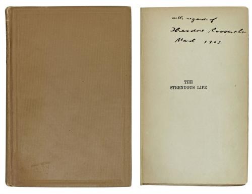 Theodore Roosevelt Signed The Strenuous Life First Edition Hard Cover Book JSA