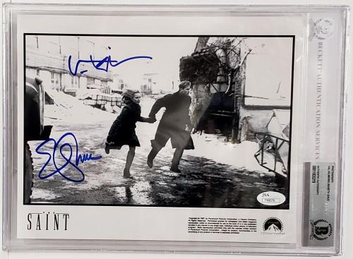 "VAL KILMER & ELISABETH SHUE Signed Autograph ""The SAINT"" 8x10 Photo BAS Slabbed"