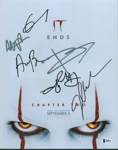 IT Chapter Two (6) Skarsgard, Bean, Chastain +3 Signed 11x14 Photo BAS #A39179