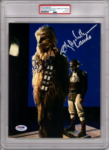 PETER MAYHEW & BILLY DEE WILLIAMS Signed Star Wars 8x10 Photo PSA/DNA Slabbed