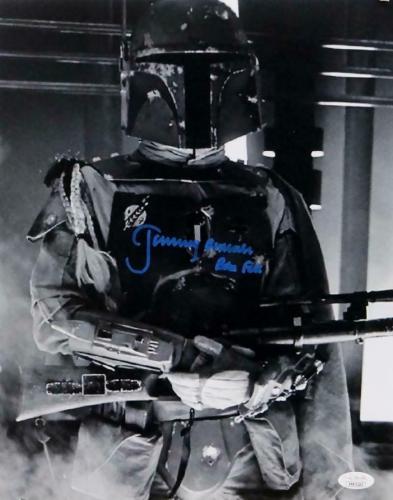 Jeremy Bulloch Autographed Boba Fett B&W Close Up 11x14 Photo- JSA W Auth *Blue
