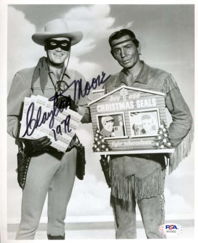 Clayton Moore Psa Dna Coa Signed 8x10 Lone Ranger Photo Autograph