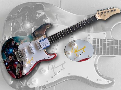 Robert Downey Jr Marvel Avengers Signed Full Size Custom Electric Guitar  Bas
