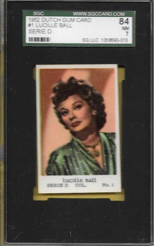 1952 Dutch Gum Card Lucille Ball Hof #1 Col Serie D Sgc 7 Nm Highest Graded Abc