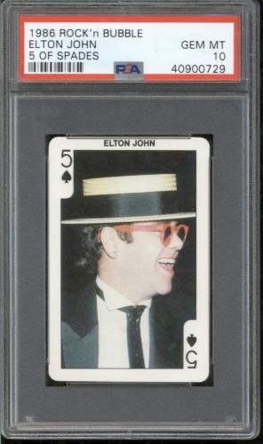1986 Rock'n Bubble ELTON JOHN PSA 10 GEM MINT Playing Card Musician POP 1