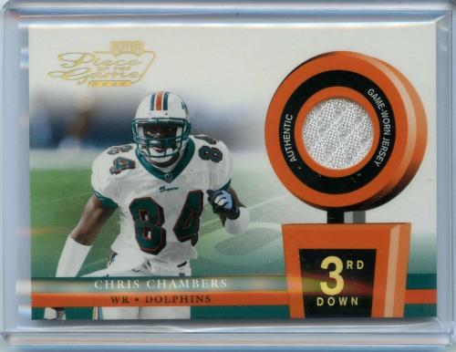 "2002 Playoff ""Piece of the Game"" 3rd Down CHRIS CHAMBERS - Game Worn Jersey /50"