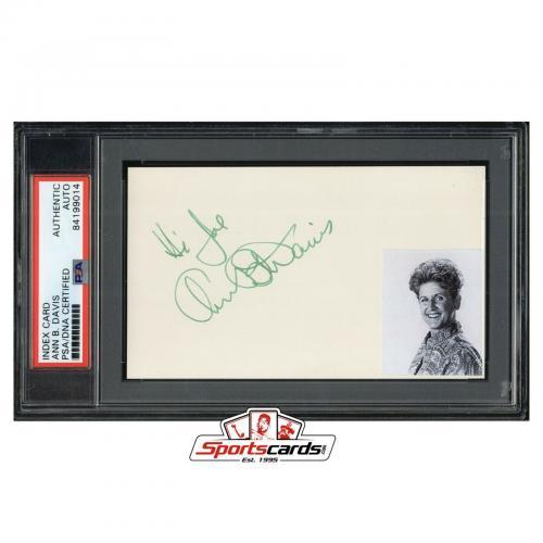 Ann B. Davis Signed 3x5 Index Card PSA/DNA Actress d. 2014 The Brady Bunch