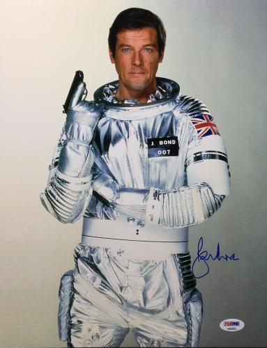 Roger Moore Signed 11x14 Photo *The Original J. Bond* PSA AB90562