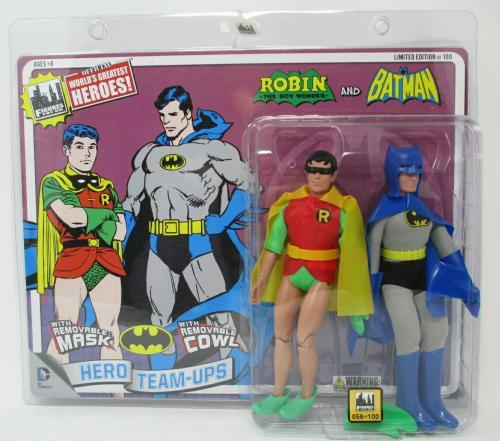 REMOVABLE COWL RETRO BATMAN / ROBIN  2-PACK DC Action Figure ~ Figures Toy Co