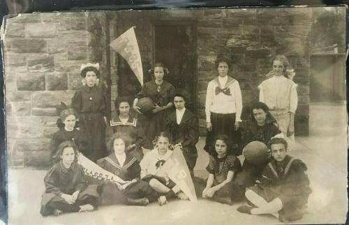 Circa 1920's, 7th Grade Girls Basketball Team Cabinet Photograph Measuring 5 x 8
