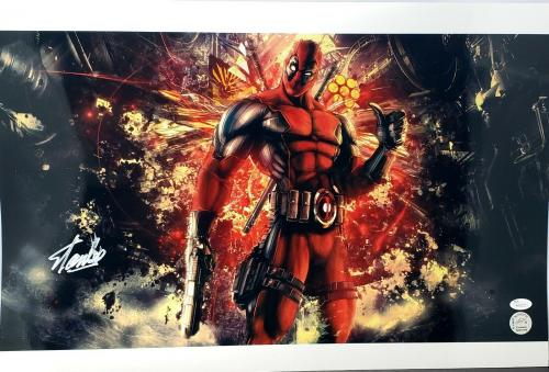 "STAN LEE Signed Autographed Marvel ""DEADPOOL"" 16x24 Photo JSA Witness #WP17177"