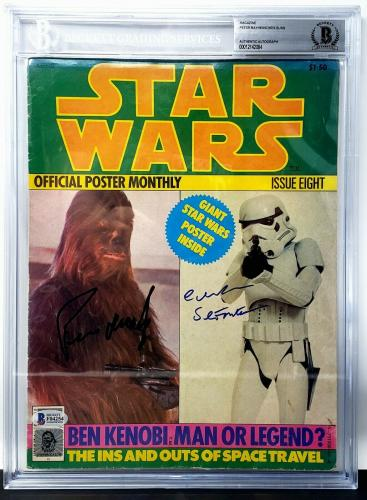 PETER MAYHEW & CHRIS BUNN Signed Autographed STAR WARS Magazine BAS Slabbed