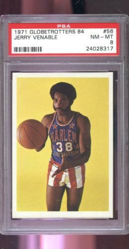 1971 Fleer Harlem Globetrotters 84 #56 Jerry Venable PSA 8 Graded Card