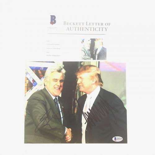 Donald Trump Jay Leno Signed 8x10 Photo BAS Beckett LOA Autographed