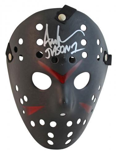 Ari Lehman Friday The 13th Jason 1 Signed Black Jason Mask w/ Silver Sig BAS Wit