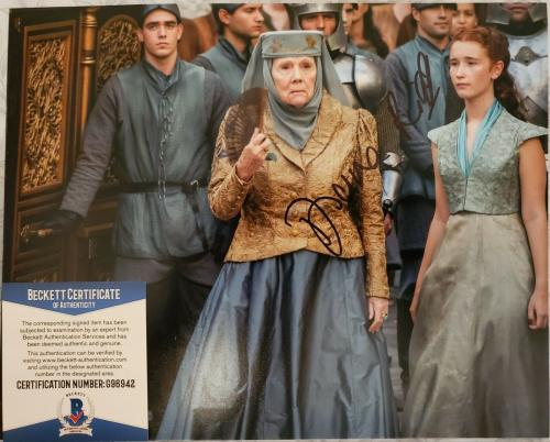 Diana Rigg Signed Game Of Thrones Autographed Bas Beckett Coa Color Photo